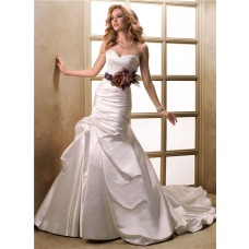 A Line Sweetheart Ruched Satin Wedding Dress With Detachable Black Sash