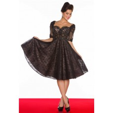 A Line Sweetheart See Through Corset Short Black Lace Prom Dress With Sleeve