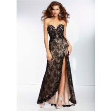 A Line Sweetheart Sheer See Through Corset Long Black Lace Beaded Prom Dress With Slit
