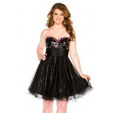A Line Sweetheart Short Black Sequin Beaded Plus Size Cocktail Prom Dress