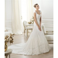A Line Sweetheart V Back Cap Sleeve Beaded Lace Wedding Dress With Belt