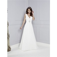 A Line V Neck Chiffon Lace Crystals Beaded Wedding Dress With Buttons Train