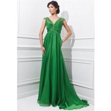A Line V Neck Empire Waist Sheer Back Long Grass Green Chiffon Beaded Evening Prom Dress