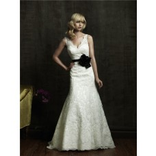 A Line V Neck Low Back Vintage Lace Wedding Dress With Black Sash