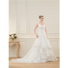 A Line V Neck Open Back Organza Ruffle Lace Beaded Wedding Dress With Buttons
