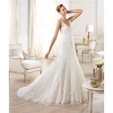 A Line V Neck Open Back Tulle Lace Wedding Dress With Straps