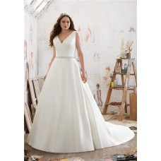 A Line V Neck Satin Plus Size Wedding Dress
