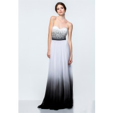 A Line White And Black Ombre Chiffon Beaded Long Evening Prom Dress Corset Back