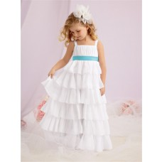 A-line Princess Wide Straps Floor Length Tiered White Chiffon Flower Girl Dress With Sash
