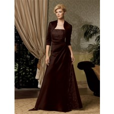 A line long chocolate brown satin mother of the bride dress with jacket