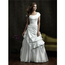 A line square chapel train cap sleeve vintage wedding dress