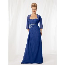 A line sweetheart long royal blue chiffon mother of the bride dress with jacket