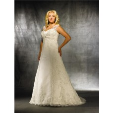 A line sweetheart modest vintage lace wedding dress for plus size women