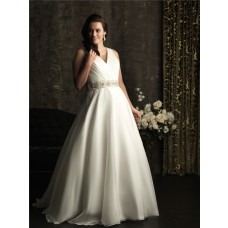 A line v neck chapel train organza plus size wedding dress with beading and straps