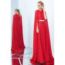 Adorable High Neck Long Red Lace Metal Belt Occasion Evening Dress With Cape