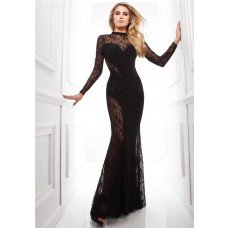 Amazing Mermaid High Neck Black Chiffon Lace Long Special Occasion Evening Dress With Sleeves