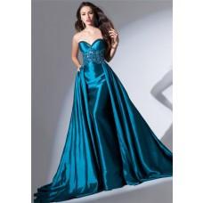Amazing Strapless Sweetheart Long Teal Blue Taffeta Beaded Evening Dress With Train