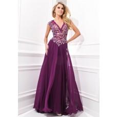 Amazing V Neck Cap Sleeve Drop Waist Long Purple Chiffon Lace Beaded Evening Prom Dress