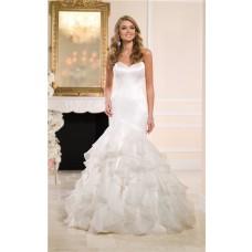 Asymmetrical Mermaid Sweetheart Satin Organza Ruffle Wedding Dress With Buttons