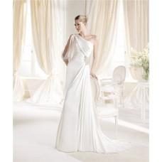 Asymmetrical One Shoulder Sleeve Chiffon Beaded Informal Wedding Dress