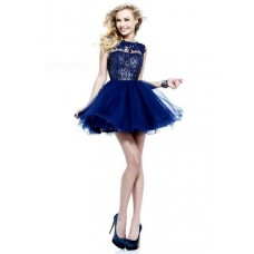 Ball Bateau Neckline Cap Sleeve Short Royal Blue Tulle Sequin Prom Dress Open Back