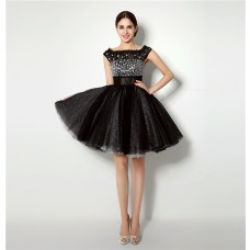 Ball Gown Bateau Neck Short Black Tulle Beaded Tutu Prom Dress