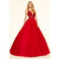 Ball Gown Deep V Neck Red Tulle Beaded Prom Dress