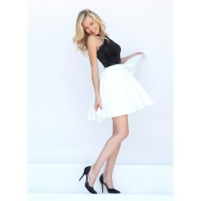 Ball Gown Halter Black And White Lace Taffeta Short Party Prom Dress