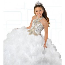 Ball Gown Halter White Tulle Ruffle Beaded Puffy Girl Pageant Prom Dress