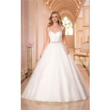 Ball Gown Illusion Bateau Neckline Tulle Lace Corset Wedding Dress With Sash