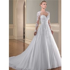 Ball Gown Illusion Neckline Sheer Long Sleeve See Through Tulle Lace Wedding Dress