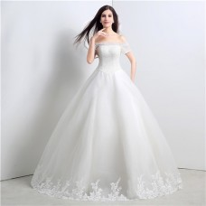 Ball Gown Off The Shoulder Drop Waist Tulle Crystal Wedding Dress Lace Up Back