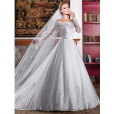Ball Gown Off The Shoulder Long Sleeve Lace Wedding Dress With Bow Sash