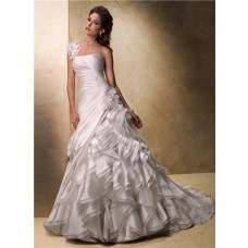 Ball Gown One Shoulder Layered Organza Ruffle Wedding Dress With Detachable Strap