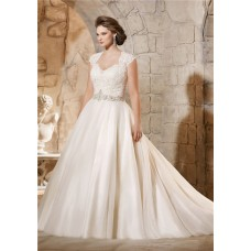 Ball Gown Queen Anne Neckline Illusion Back Tulle Plus Size Wedding Dress