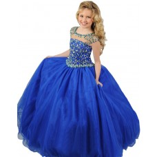 Ball Gown Round Neck Cap Sleeve Royal Blue Tulle Beaded Girl Party Prom Dress