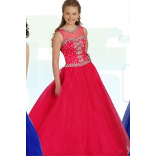 Ball Gown Round Neck Keyhole Back Hot Pink Tulle Beaded Teen Prom Dress