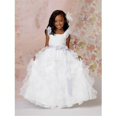 Ball Gown Scoop Floor Length White Organza Flower Girl Dress with Ruffles Bow