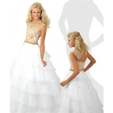 Ball Gown Scoop Neck Open Back White Organza Ruffle Gold Beaded Teen Prom Dress