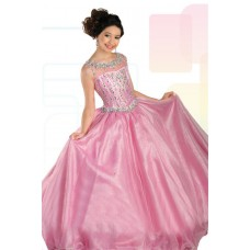 Ball Gown Sleeveless Open Back Pink Organza Beaded Girl Pageant Prom Dress