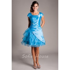 Ball Gown Square Neck Cap Sleeve Short Blue Organza Ruffle Layered Prom Dress