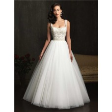Ball Gown Square Neck Embroidery Beading Tulle Wedding Dress With Straps