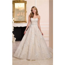 Ball Gown Strapless Champagne Satin Ivory Lace Wedding Dress Crystals Belt
