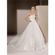 Ball Gown Strapless Drop Waist Applique Tulle Ruffle Wedding Dress