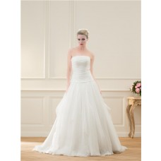 Ball Gown Strapless Drop Waist Tulle Ruched Wedding Dress With Bow Buttons