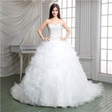 Ball Gown Strapless Embroidery Satin Organza Ruffle Corset Wedding Dress