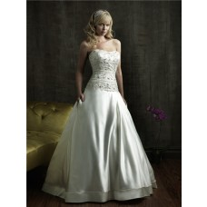 Ball Gown Strapless Fitted Dropped Waist Satin Embroidered Beaded Wedding Dress