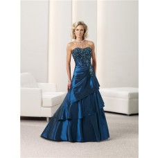 Ball Gown Strapless Navy Blue Taffeta Beaded Mother Of The Bride Evening Dress Shawl