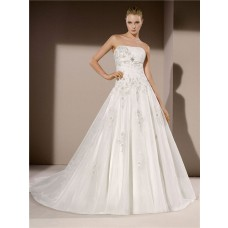 Ball Gown Strapless Organza Applique Beaded Wedding Dress With Crystal Belt