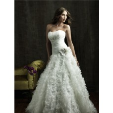 Ball Gown Strapless Organza Floral Wedding Dress With Corset Back Train